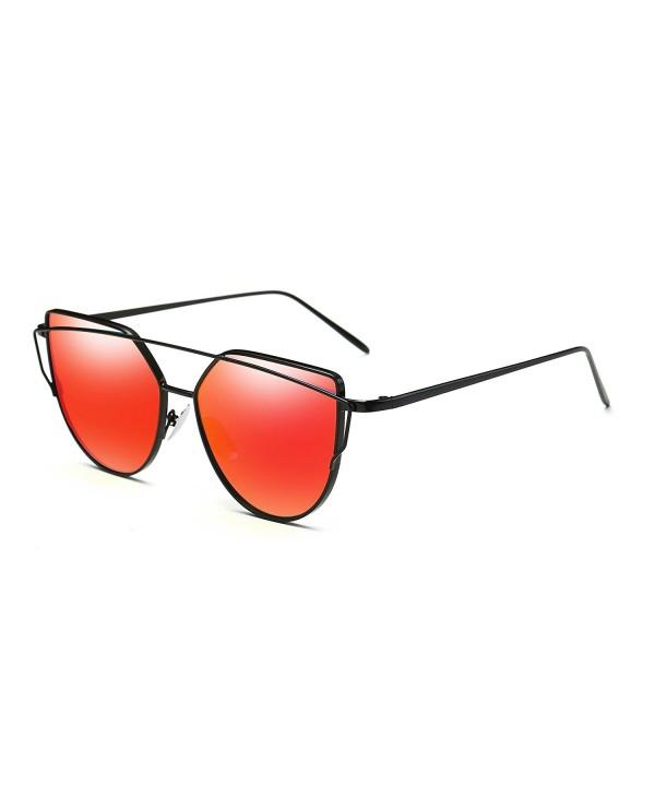Bonvince Mirrored Fashion Sunglasses Red
