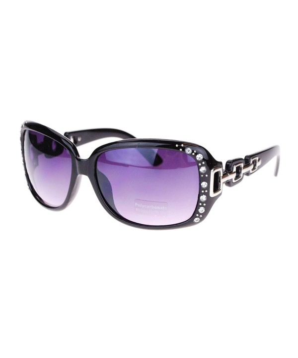 Oversized Rectangular Rhinestone Encrusted Sunglasses