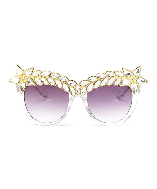 Slocyclub Women Jeweled Eyebrow Sunglasses