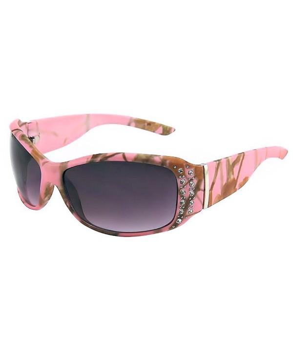 Womens Pink Camouflage Sunglasses Rhinestones