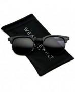 Polarized Clubmaster Classic Semi Rimless Sunglasses