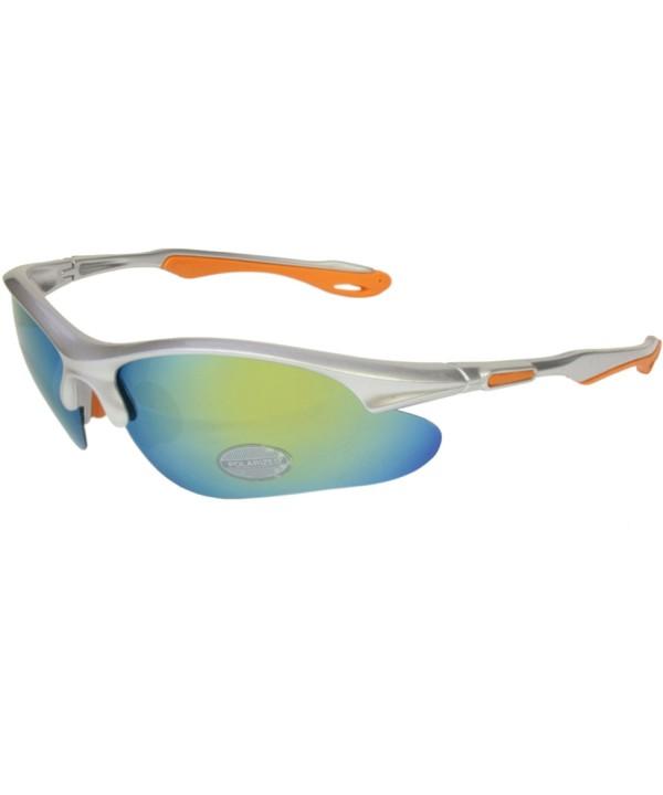 Polarized Mirrored Sport Sunglasses Silver