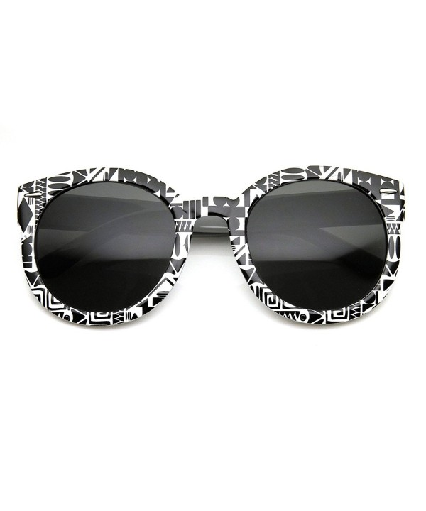 zeroUV Oversized Fashion Sunglasses Black White Oval Print