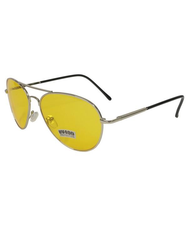 Yellow Driving Aviator Sunglasses Chrome