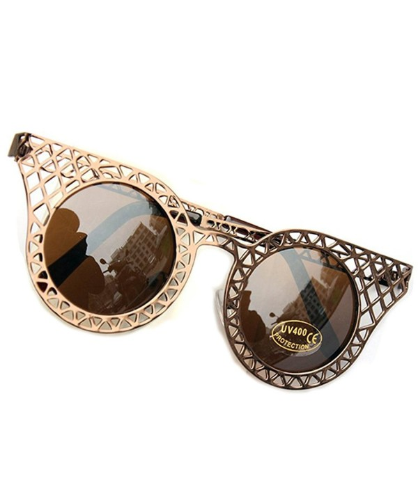 SUNROLAN Rim Round Oversized Sunglasses fhC41Brown