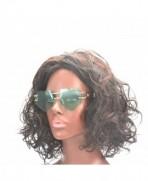 Womens Designer Rimless Sunglasses gold green