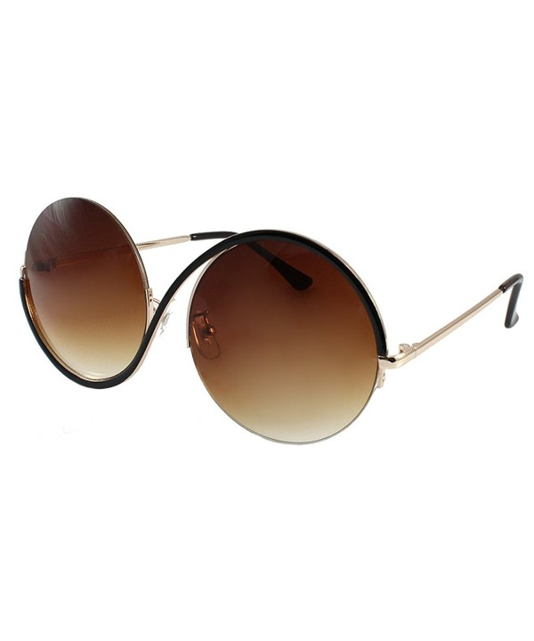 Oversized Round Metal Rimless Sunglasses