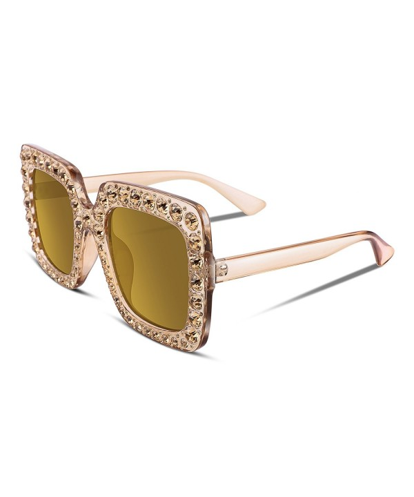 FEISEDY Sparkling Crystal Sunglasses Oversized