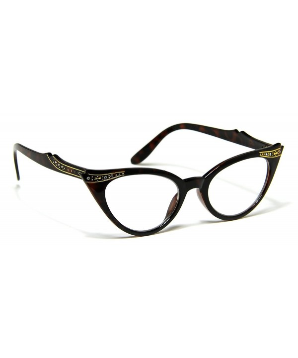 Womens Rhinestones Crystals Tortoise Eyeglasses