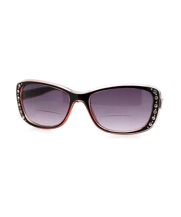 Womens Bifocal Sunglasses Rhinestone Rectangular