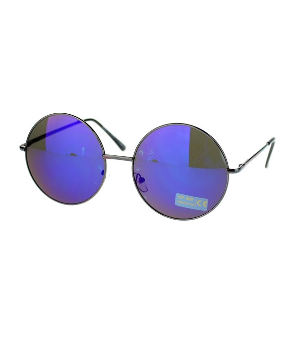 Hippie Circle mirrored Sunglasses Gunmetal