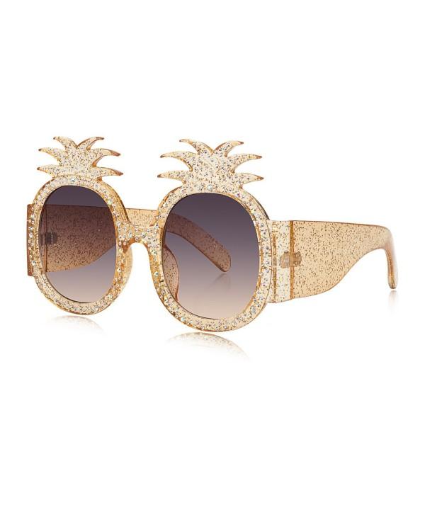 WOWSUN Pineapple Sunglasses Glittered Oversized
