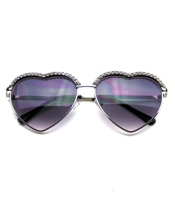 Heart Rhinestone Aviator Sunglasses Silver