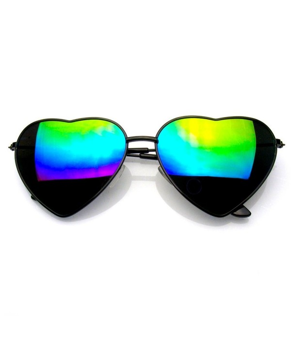 Womens Metal Heart Mirror Sunglasses