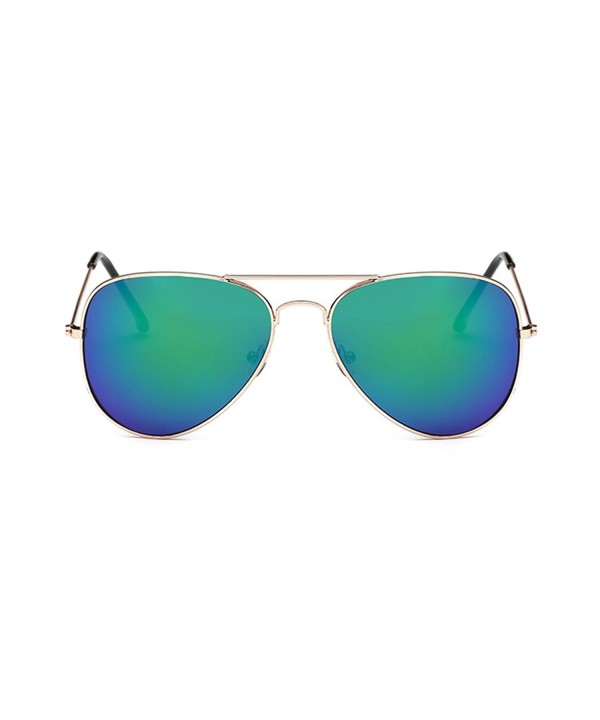 Coolsunny Classic Aviator Sunglasses Gold Green