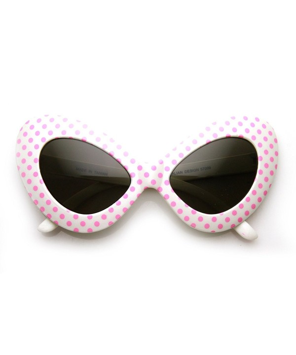 zeroUV Oversized Butterfly Sunglasses White Pink Dots