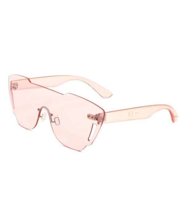 Rimless Piece Shield Sunglasses Transparent