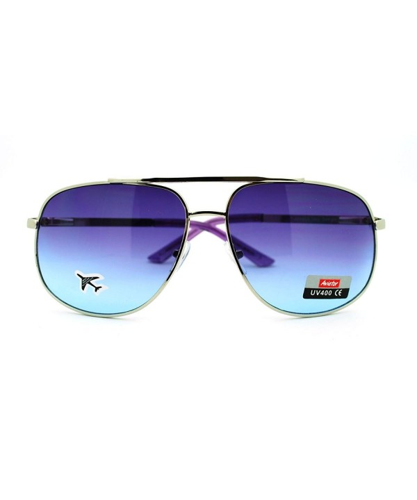 Purple Square Aviator Sunglasses Silver