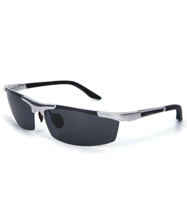 YJMILL magnesium Polarized Sunglasses Silver gray