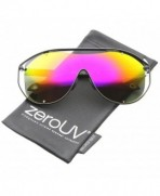 zeroUV Fashion Rimless Sunglasses Yellow Magenta