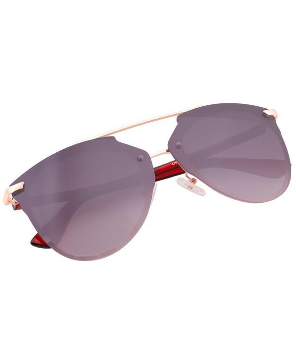 Mirrored Rimless Sunglasses Aviator 87049C