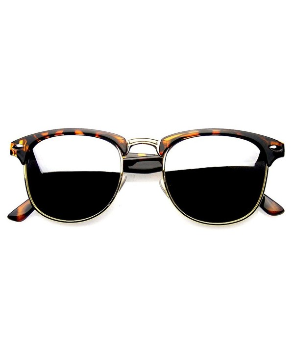 Half Frame Flash Sunglasses Tortoise