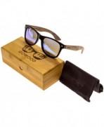 Walnut Wayfarer Sunglasses Mirrored Polarized