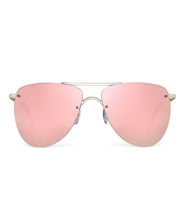 Polarized Rimless Aviator Sunglasses Mirrored