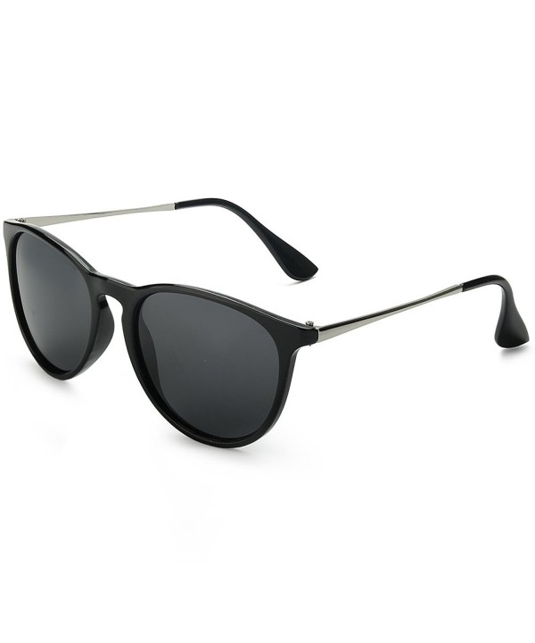 WELUK Wayfarer Sunglasses Polarized Women Men 60mm Round Retro Large Lens Black