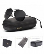 LUENX Aviator Sunglasses Polarized Black