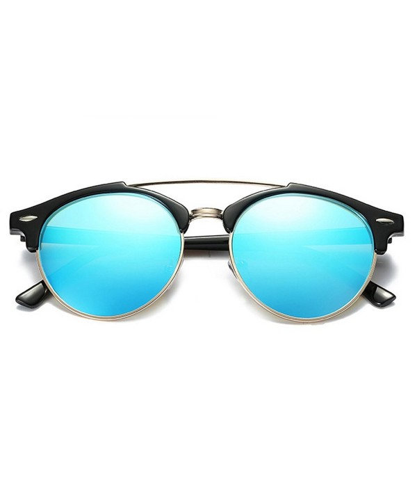 YORFORMALS Semi Rimless Round Polarized Sunglasses