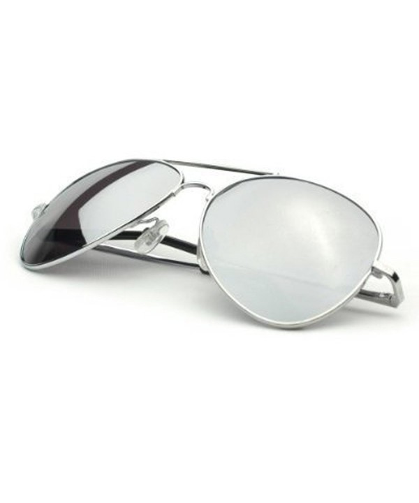 Classic Mirror Aviator Sunglasses Silver