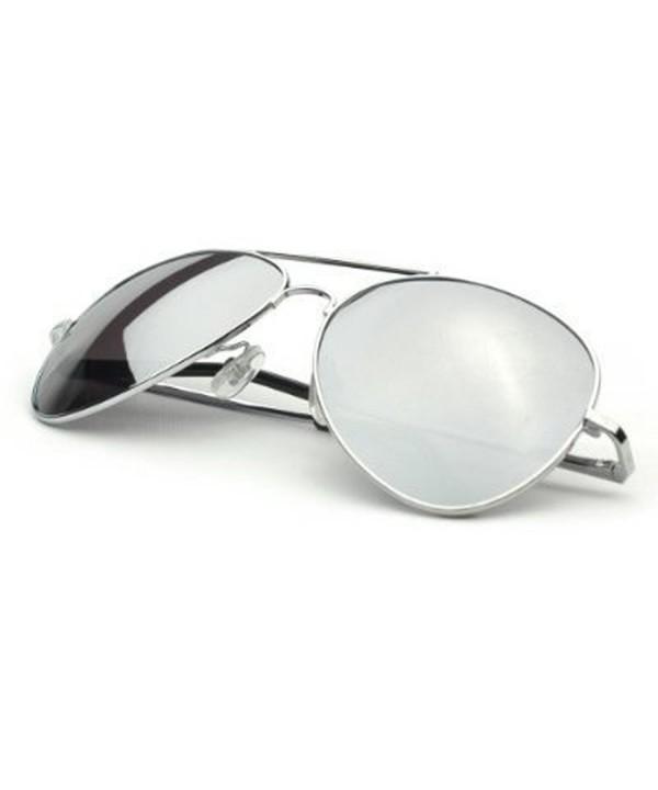 Classic Mirror Aviator Sunglasses Silver