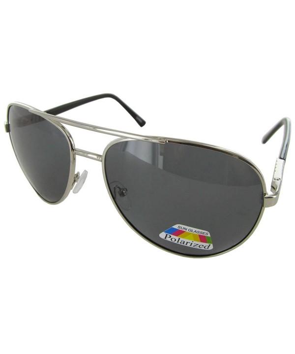 Polarized Eyewear Aviator Sunglasses Silver Smoke