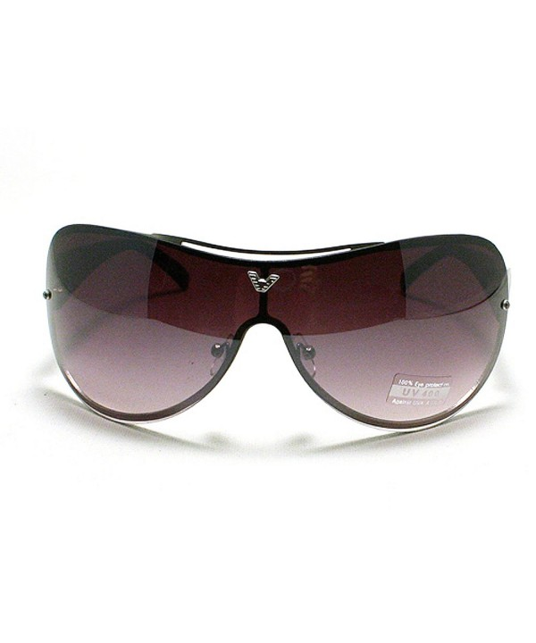 Oversized Rimless Shield Aviator Sunglasses