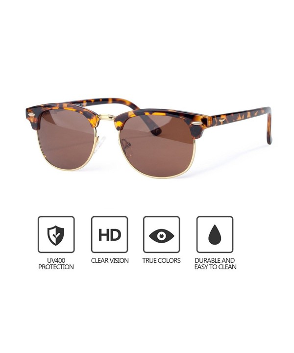 Semi Rimless Sunglasses Classic Polarized Protection