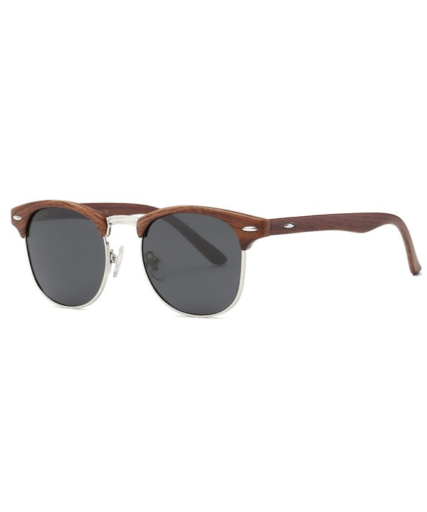 AEVOGUE Polarized Sunglasses Semi Rimless Woodgrain