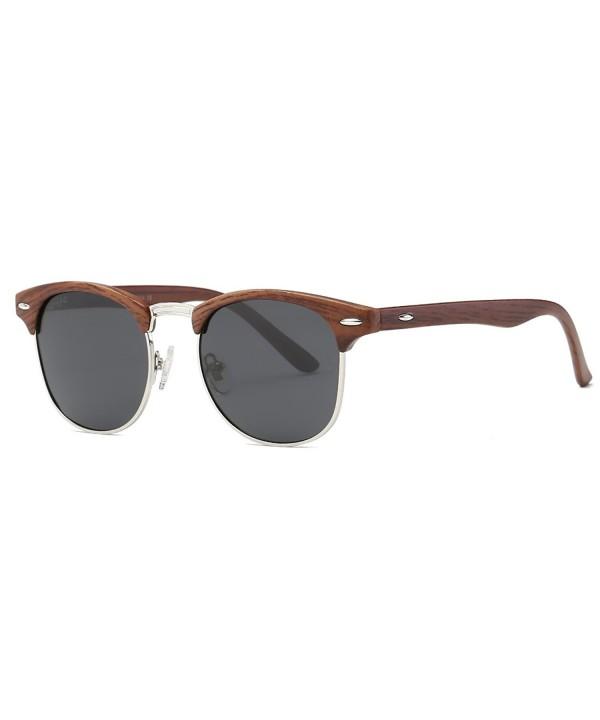 AEVOGUE Polarized Sunglasses Semi Rimless Woodgrain
