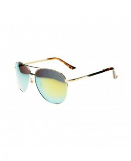 Premium Polarized Metal Aviator Sunglasses for Men Women w/ Revo Mirror Lens - UV400 - Gold - CP12H3I1WM3