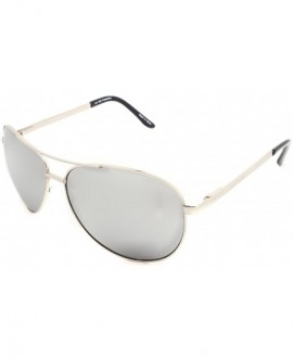 Unisex Men's Aviator Style Metal Frame Sunglasses - 006sil Silver - CW12L4682YV