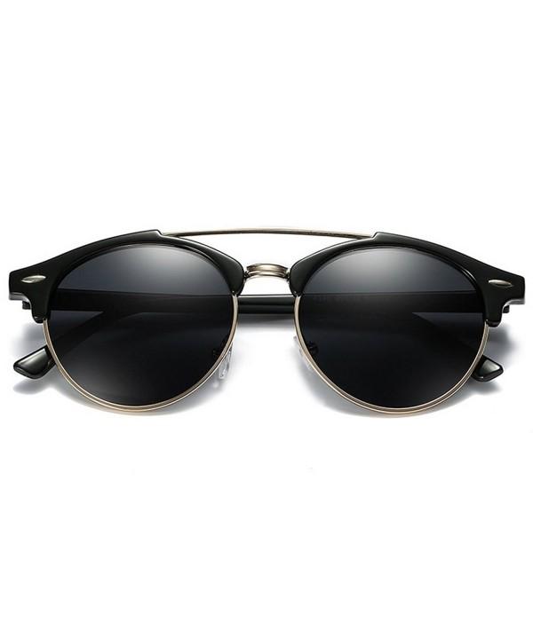 YORFORMALS Semi Rimless Round Polarized Sunglasses