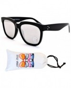 W241 vp Oversized Wayfarer Sunglasses Black Silver