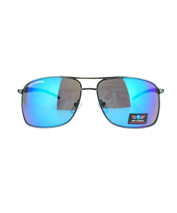Narrow Rectangular Aviator Sunglasses mirrored