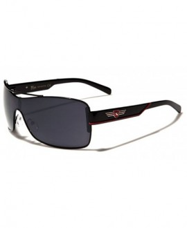 Men's Youth Retro Fashion Sport Square Aviator Sunglasses Black Blue White - Black - Red - CE11P3RC3FR