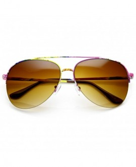 Large Colorful Floral Print Semi-Rimless Metal Aviator Sunglasses - Floral Amber - C511V1ZRPPN