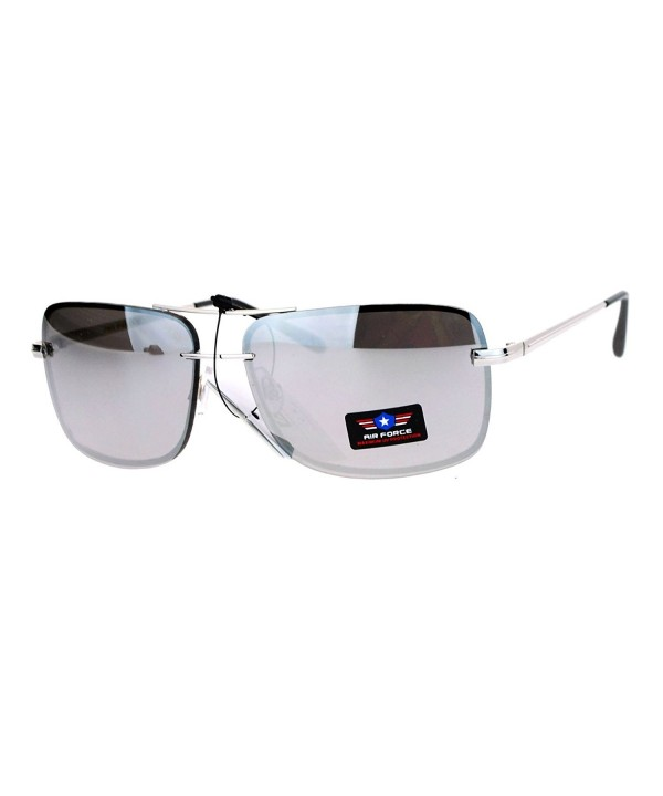 SA106 Rimless Rectangular Aviator Sunglasses
