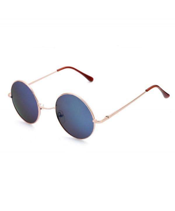 QingFan Vintage Aviator Mirrored Sunglasses