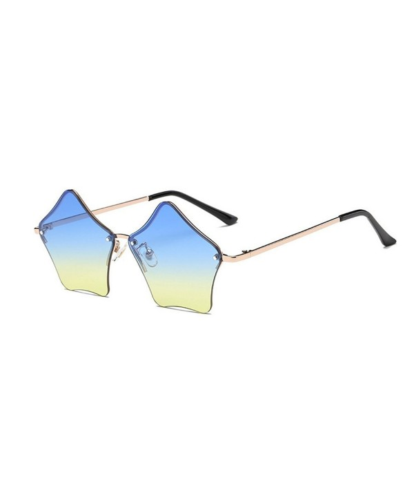 Rimless Sunglasses Transparent Eyewear gold blue