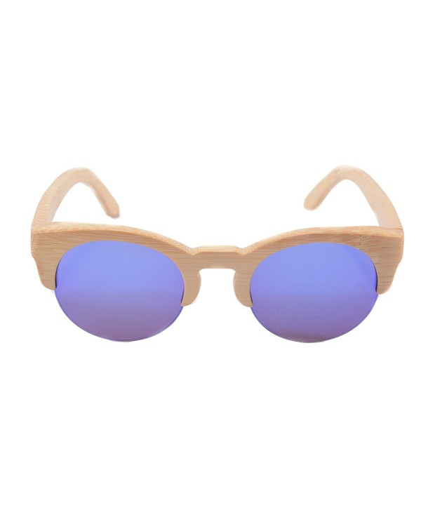 SHINU Bamboo Sunglasses Semi rimless Sunglasses Z6017