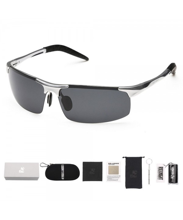 Rectangular Lightweight Protection Sunglasses Silver Grey